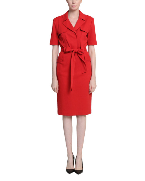 Red Belt Loop Tie Waist Day Dress Front