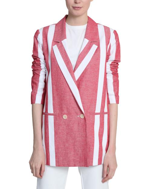 Red/White Stripe Blazer front