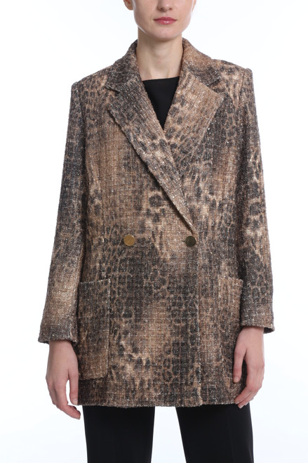 Tan Multi Leopard Tweed Trench Front