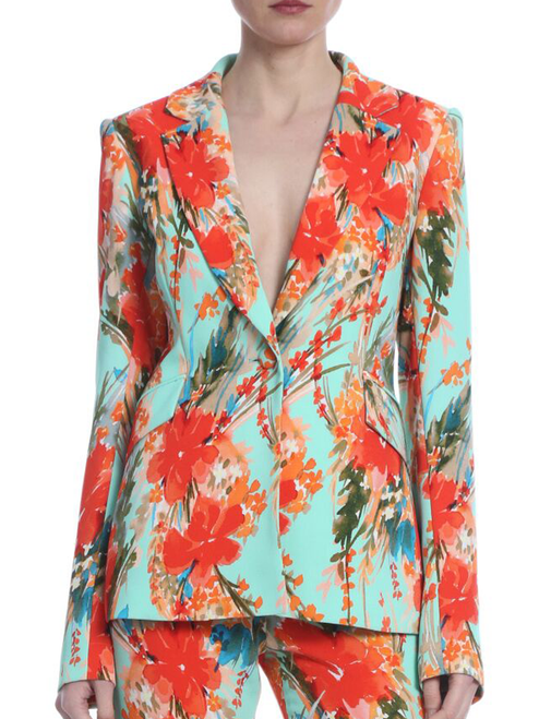 Aqua Multi Orchid Floral Printed Jacket Front