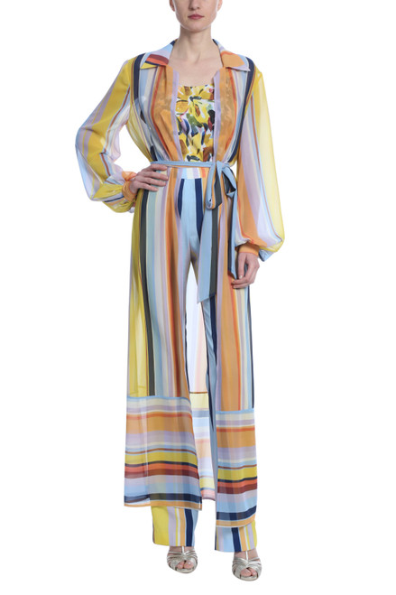 Yellow Multi Stripe Duster Front