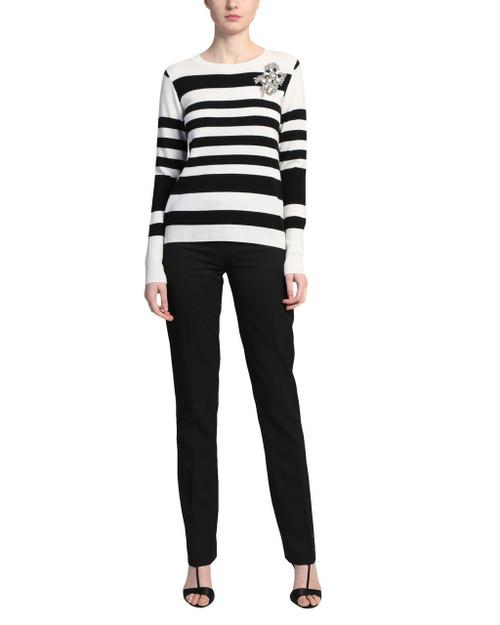 Black Multi Stripe Sweater with Embellishment front