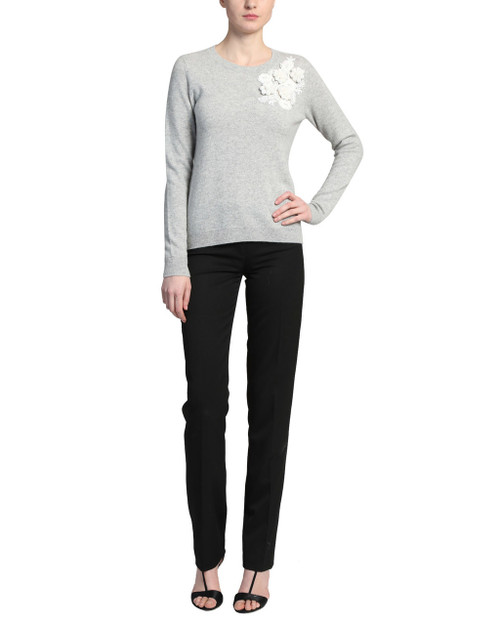 Heather Grey Solid Cashmere Sweater front
