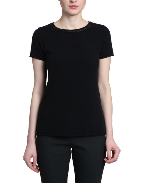 Black Short Sleeve Sweater with beaded neckline Front