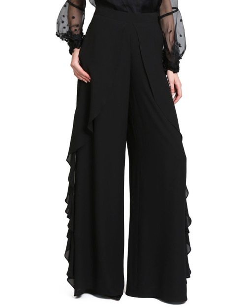 Black Solid Ruffle Pants front