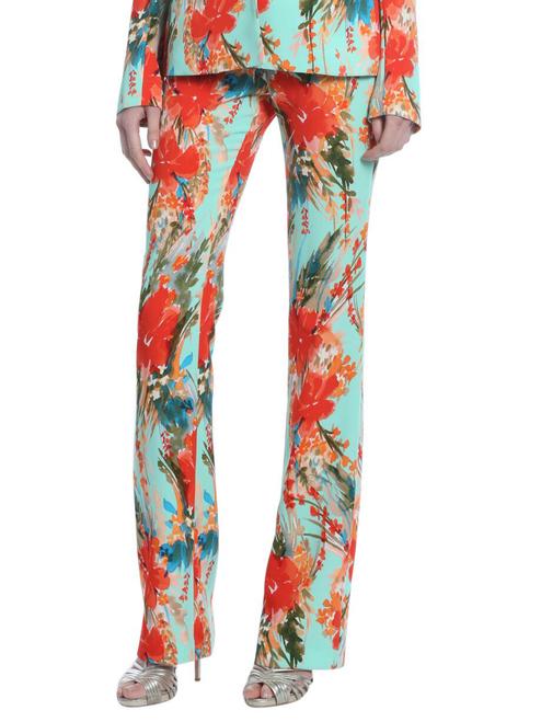 Aqua Multi Orchid Floral Printed Pant Front