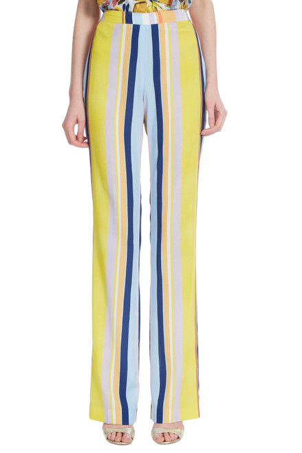Yellow Multi Crop Stripe Pant Front
