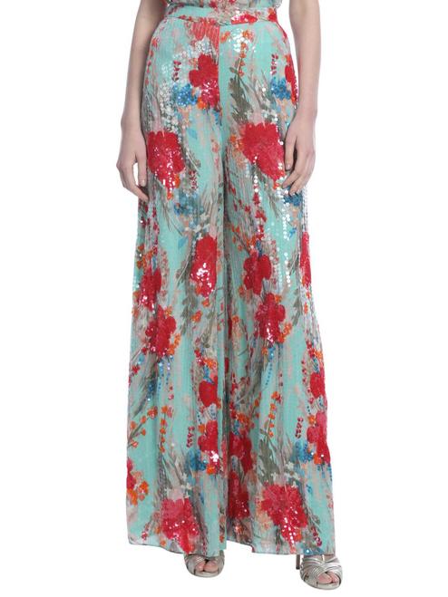 Aqua Multi Runway Orchid Print Sequin Pant Front