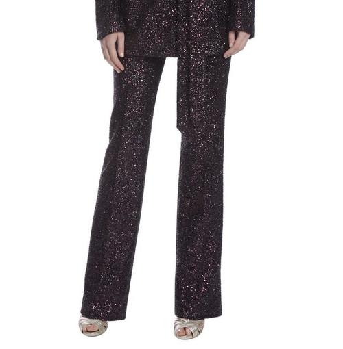 Black Burgundy Runway Micro Sequin Pant Front