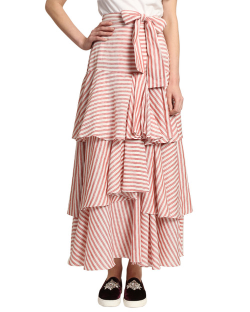 Red/White Tiered Stripe Skirt front