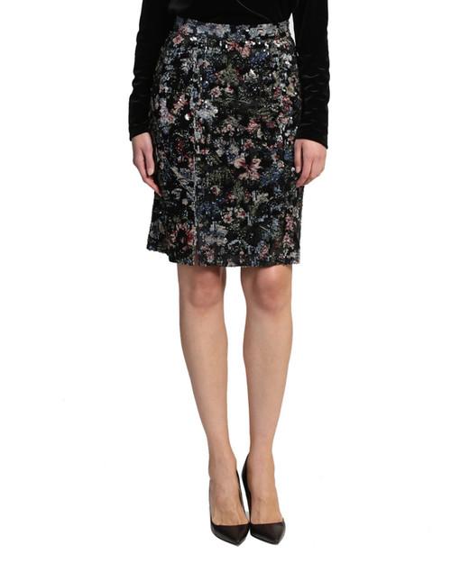 Black Multi Sequin Button Skirt Front Alt