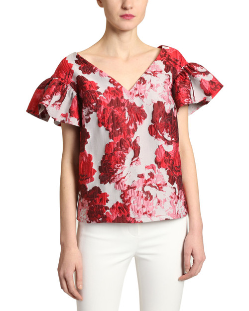 Red Multi Brocade Top - front