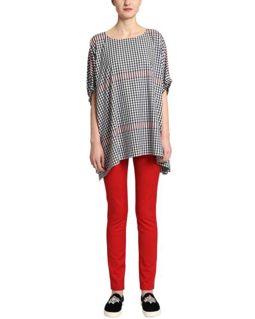 Red Multi Plaid Oversized top - front