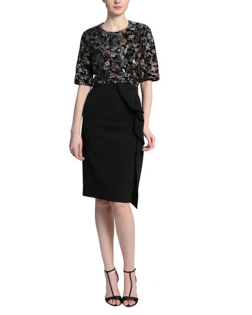 Black Multi Floral Printed Velvet Sequin Top - Front