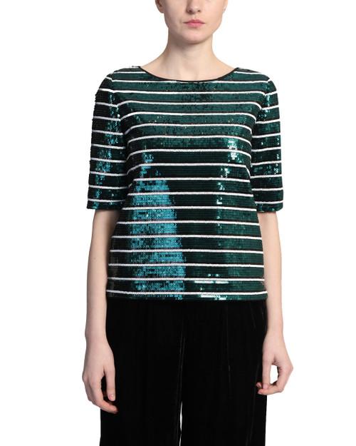 Emerald Multi Sequin Stripe Tee front