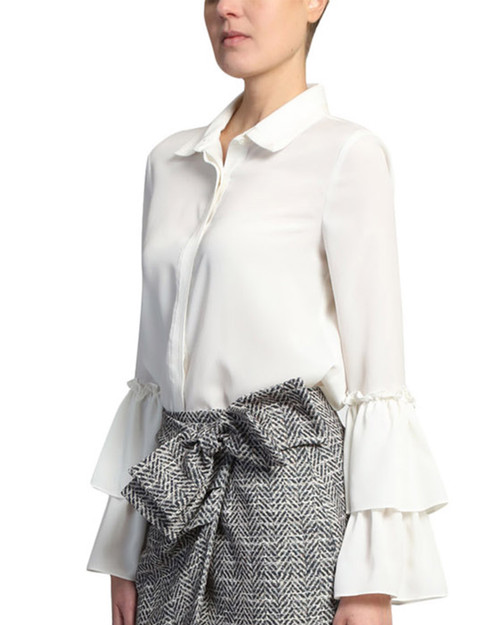 Natural White Blouse With Double Ruffle on Sleeve Front Crop