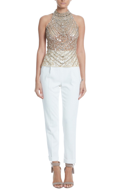 Nude Beaded Tulle Top Front