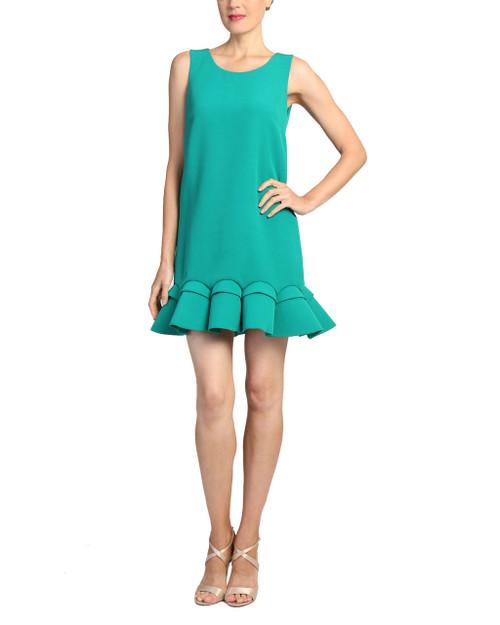 Emerald Bottom Ruffle Cocktail Dress front