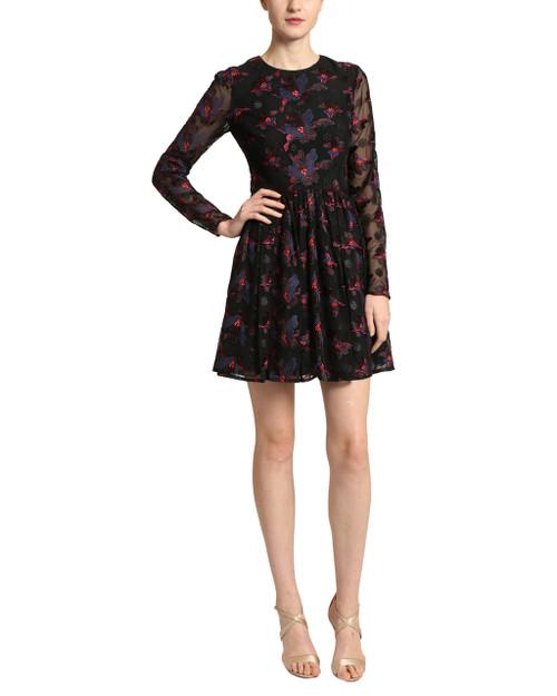 Black Multi Sheer Waist Cocktail Dress front