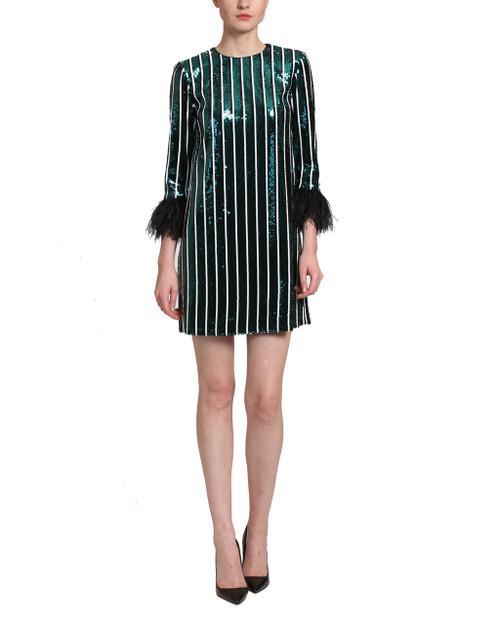 Emerald Multi Sequins Striped Sack Dress front
