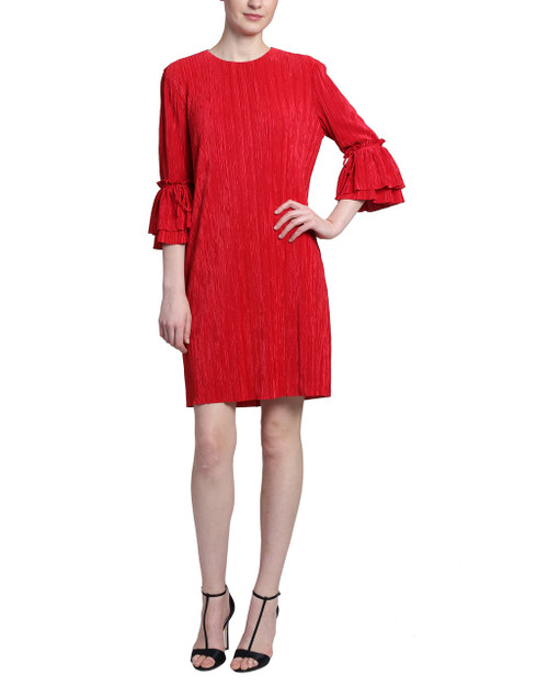 Red Three Quarter Length Ruffle Sleeve Pleated Sack Dress Front