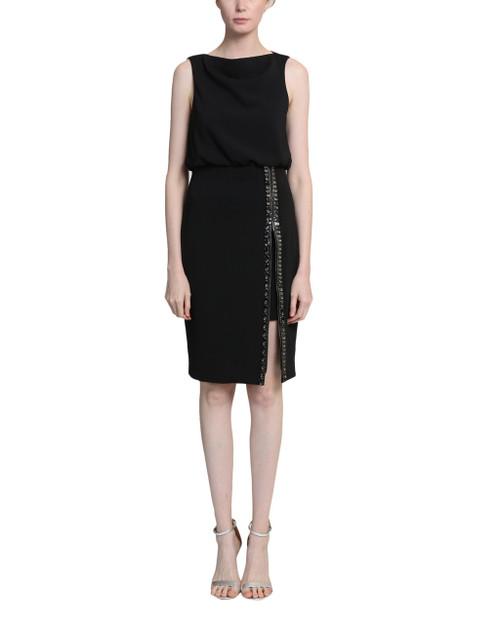 Black Embellished Back Zipper Sleeveless Sheath Dress Front