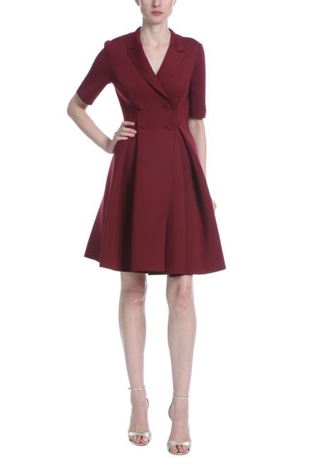 Burgundy Flare Scuba Suit Cocktail Dress Front