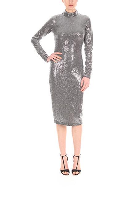 Silver Mock Neck Sequin Cocktail Dress Front