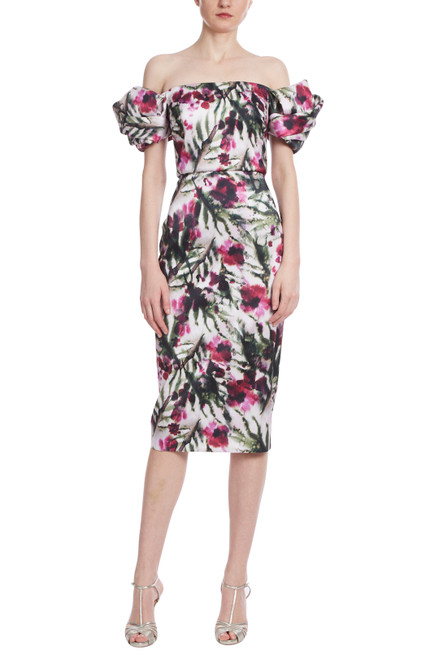 Lt Ivory/Raspberry Floral Printed Twist Sleeve Cocktail Front