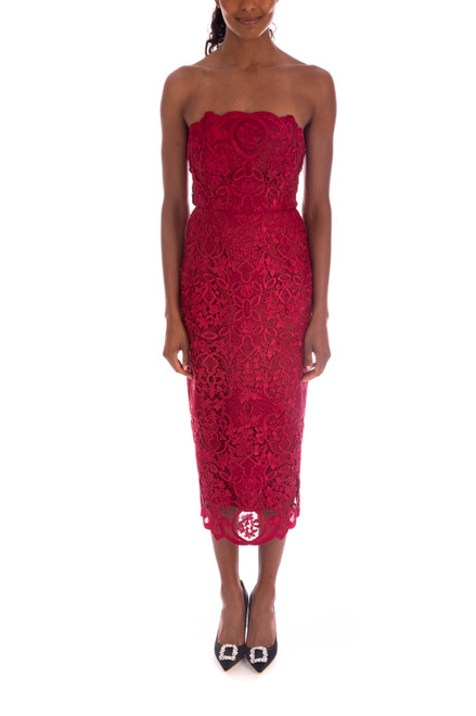 Berry Strapless Lace Cocktail Dress Front
