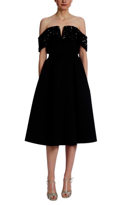 Black Sequin Off Shoulder Scuba Cocktail Dress Front