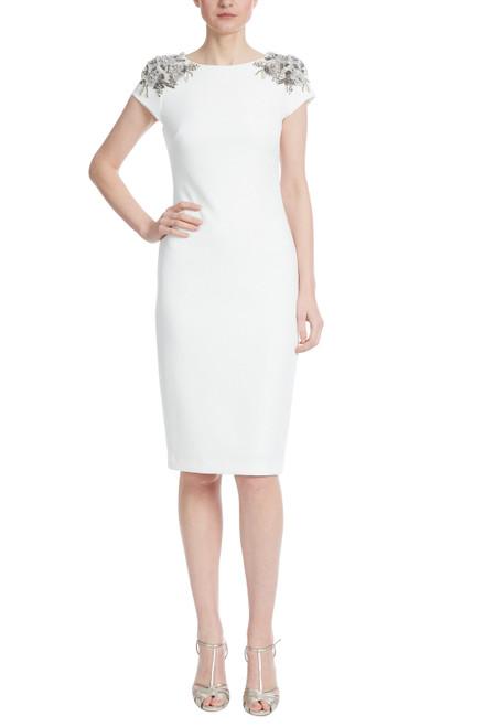 Light Ivory Beaded Cap Sleeve Sheath Dress Front