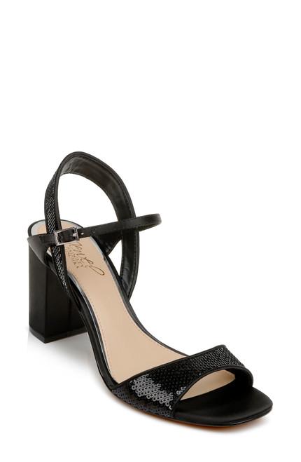 Black Irma Sequin Open Toe Block Heel Front