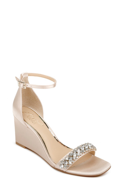 Champagne Peggy Crystal Embellished Wedge Front