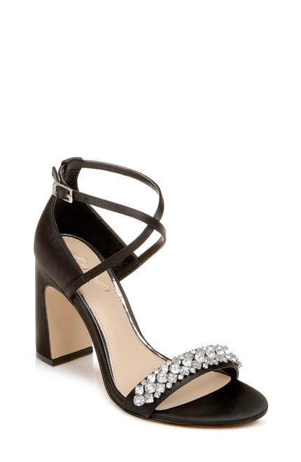 Black Penny Crystal Embellished Block Heel Front side