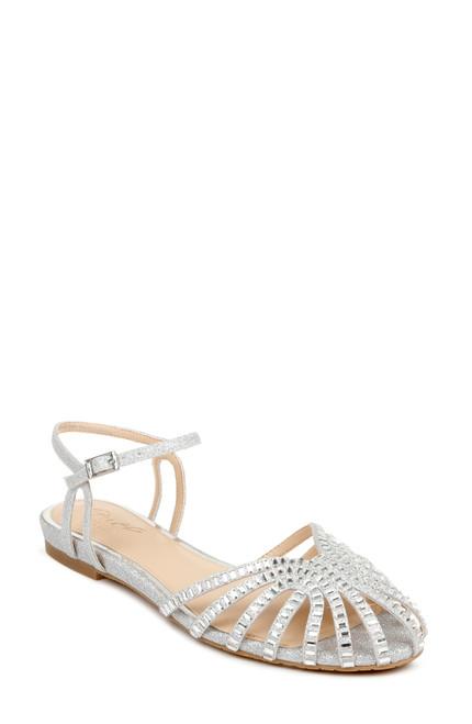 Silver Perla Caged Flat Sandal Front