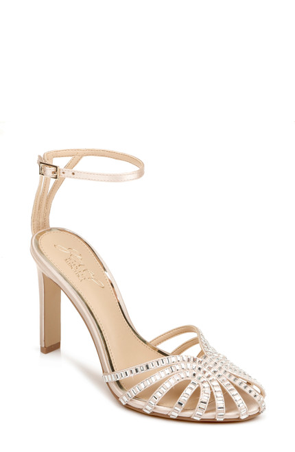 Champagne Polly Caged Toe Evening Shoe Front
