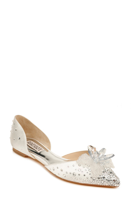 White Haddie Embellished D'Orsay Flat Front