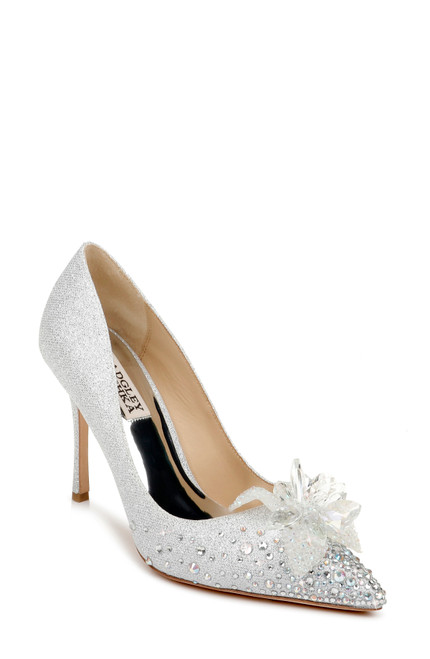 Silver Halo Flower Embellished Pointed Toe Pump Front