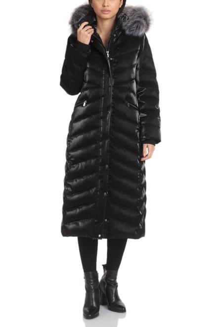 Black Iridescent Maxi Puffer Coat Front