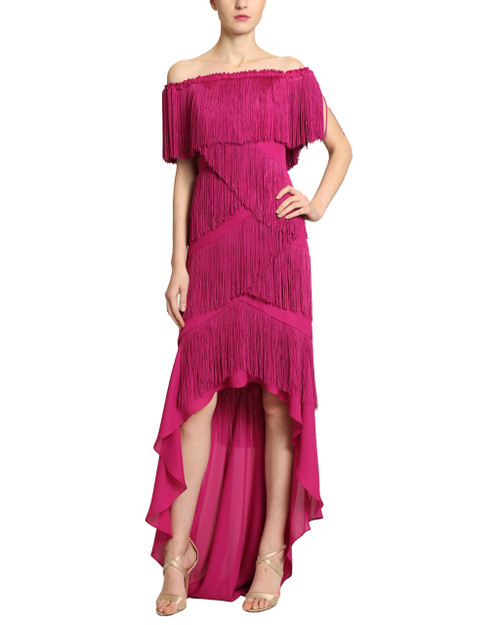 Fuchsia Tiered Fringe Evening Gown front