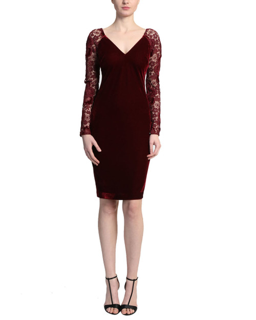 Casis Velvet and Lace Cocktail Dress front