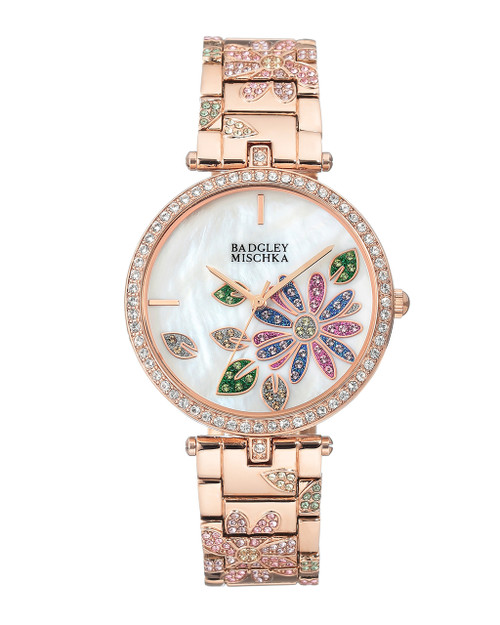 Rose Gold-Tone Bracelet Watch With Flower Accents Front
