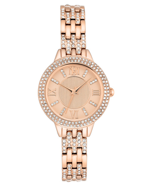 Rose Gold Tone Watch with Crystal Embellishment Front