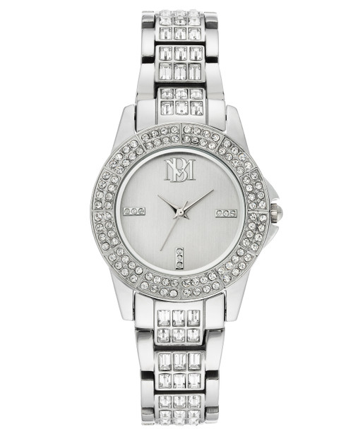 Silver Round Crystal Embellished Face Watch Front