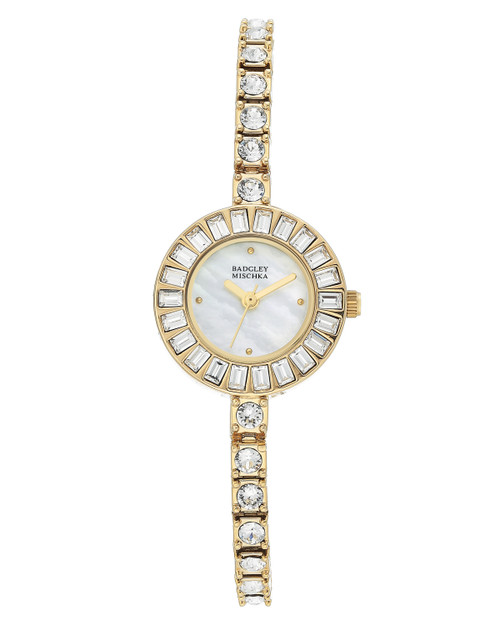 Gold Crystal Embellished Thin Banded Watch Front