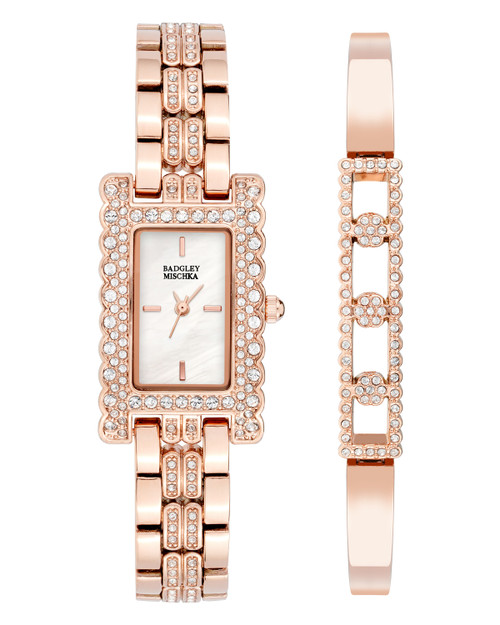 Crystal Embellished Rectangle Face Watch Front