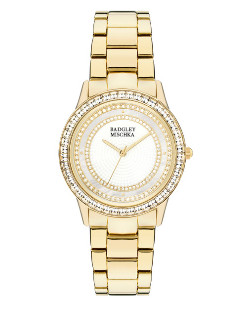 Large Round Face Crystal Embellished Watch Front