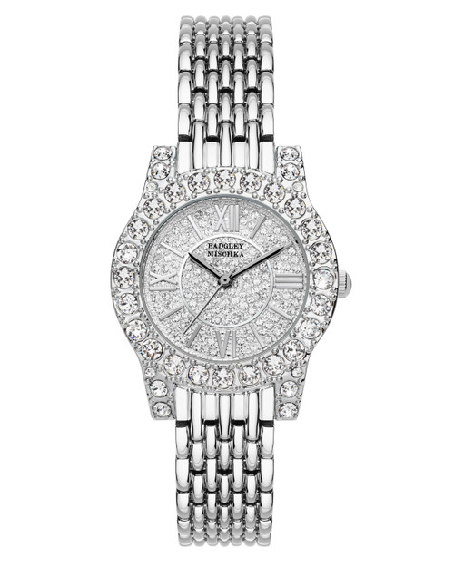 All Over Crystal Embellished Silver Watch Face Front