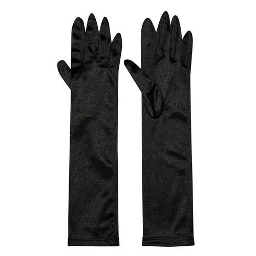 Black Stretch Satin Long Glove